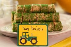 John Deere Tractor Birthday Party - Our Family Unit. Hay bales!