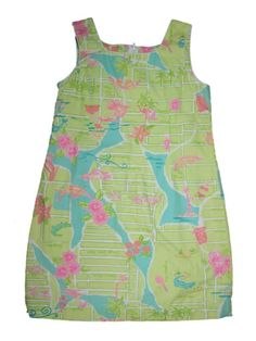 Girl Via Lilly Pulitzer Green Palm Beach Map Shift Dress Spring Summer Size 12 #LillyPulitzer #DressyEveryday
