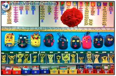 "Class display of artwork (Pastel Cheetahs): Students hang up their own art under their name to save teacher time - never have a ""no name"" art piece again! Whimsy Workshop Teaching Ideas"