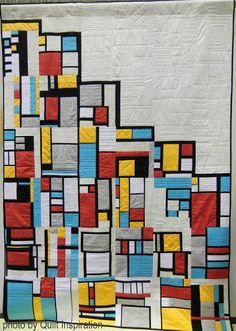 "Quilt Inspiration    Whimsical Mondrian, 94 x 67"", by Laraine Salmon, D. Brandenhoff, L. Chung, G. Fie, L. Kemp, B. Lamont, K. Resect and K. Stern (California)"