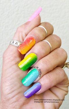 Rainbow Gradient by #polishsickness #colorful #mani #nails #nailart - bellashoot.com