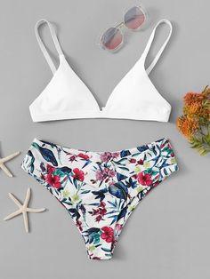 Shop Random Tropical Mix and Match Bikini Set online. ROMWE offers Random Tropical Mix and Match Bikini Set & more to fit your fashionable needs. Summer Bathing Suits, Cute Bathing Suits, Summer Suits, Bikinis Lindos, Mix And Match Bikini, Bikini Ready, Bra Types, Summer Bikinis, Beachwear For Women