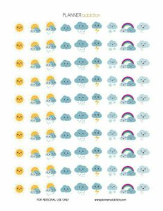Weather Kawaii (Planner Addiction) Hello my planner addicts I will start to make more decorative printable planner stickers this week. Your suggestions are always appreciated. So today, it's Weather Kawaii. This Freebie fits in every Planner 2018, To Do Planner, Passion Planner, Free Planner, Planner Pages, Happy Planner, Organized Planner, Teacher Planner, Blog Planner