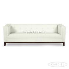 Harrison Mid-Century Modern Loft Sofa, White Aniline Leather |