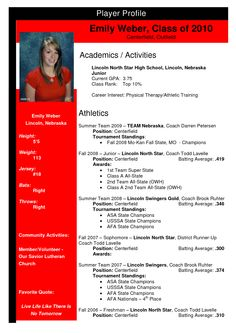 Softball Profile Sample | Emily Weber - Team Nebraska Softball