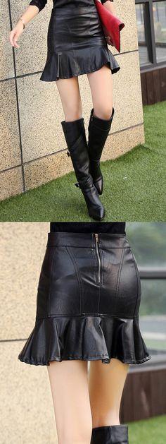 Black Flounce Hem Back Zip PU Skirt