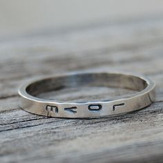 Personalized Text Hand Stamped Rings Stacking by lovestrucksoul
