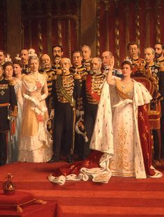 Detail of painting depicting the inauguration of Queen Wilhelmina of the Netherlands at the New Church in Amsterdam, September 6, 1898, by Nicolaas van der Waay (photo copyright Koninklijk Huisarchief). Queen Wilhelmina's gown, which was designed by the Parisian fashion house Nicaud, is now located at the Het Loo Palace National Museum. See…