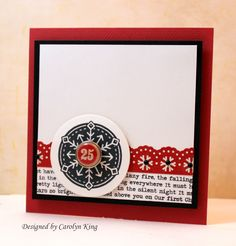 Red, White and Black  CAS Christmas card by Carolyn King using Simple Snowflakes stamp set from Gina K Designs.