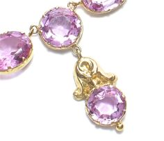 Antique 14k Pink Topaz Necklace - Late 19th Century