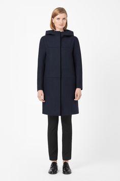 Hooded wool coat