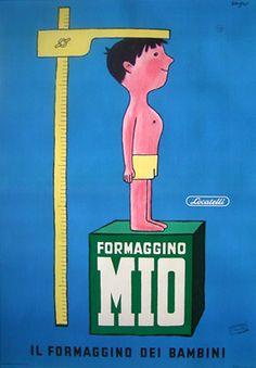 Vintage Italian Posters ~ #illustrator #Italian #posters ~ Raymond Savignac, Formaggino Mio, 1957