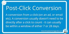 A Post-Click Conversion, or PC Conversion is when a user converts after a click. This click can occur anywhere (on a link, an ad, an email, etc). Marketing Definition, Definitions, Did You Know, Conversation, Knowing You, Digital Marketing, Window, Shit Happens, Link