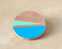 Teal Blue and Mint Green wooden brooch - Abstract colored brooch - Hand painted brooch - Colored lines jewel - Summer fashion accessory via Etsy