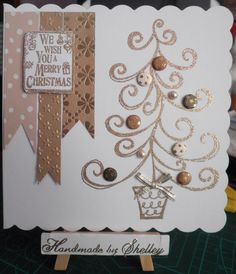 Curly Tree stamp by Woodware. Fool's Gold glitter embossing powder by Wow! Card Candi by Craftwork Cards. Greeting by LOTV