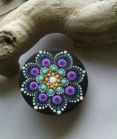 Hand Painted Slate Stones by Miranda Pitrone  Dot Art Magnet Clip Slate  Size: approx. 2 inches  Colors: White, Yellow, Blue Aqua, Magenta,