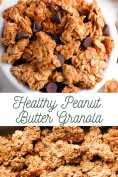 This Healthy Peanut Butter Granola recipe makes the easiest homemade granola filled with chunky clusters and simple ingredients Made completely gluten free dairy-free and in 30 minutes or less recipe healthy granola oats peanutbutter food breakfast Peanut Butter Granola, Healthy Peanut Butter, Cashew Butter, Clean Eating Snacks, Healthy Eating, Clean Eating Granola, Healthy Food, Healthy Homemade Snacks, Healthy Filling Breakfast