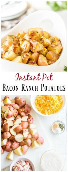 Bacon ranch potatoes in less than 30 minutes! AND only 4 main ingredients and 3 simple seasonings for this mouth-watering comfort food.