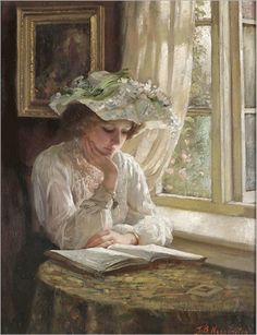 lady-reading-by-a-window-Thomas-Benjamin-Kennington(1856-1916)