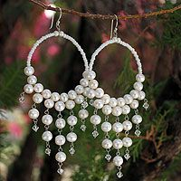 Pearl chandelier earrings, 'Harmony of White'    Thailand's Sasina brings into balance the mystical allure of pearls and the glistening elegance of Japanese crystals. Together they create a spectacular show of light and color for these sterling hoop earrings.