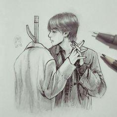 Fanart Bts, Taehyung Fanart, Kpop Drawings, Art Drawings Sketches, Fan Art, Bts Fans, Art Inspo, Art Reference, Illustration
