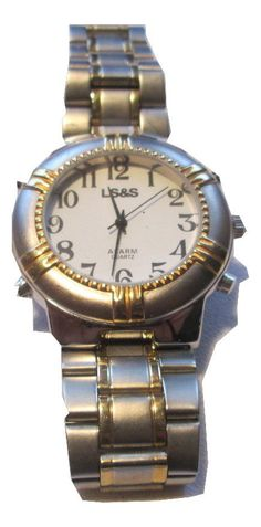 Men's LS&S Talking Alarm Watch, White Face, 2-Tone Color, Heavy Adjustable Band  #LSS #Fashion