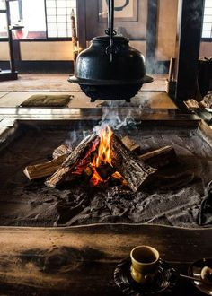 A traditional hearth at Wanosato, a luxe ryokan a short drive from central Takayama.