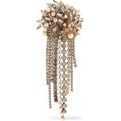 Erickson Beamon Hunger gold-plated, faux pearl and crystal brooch (1 040 AUD) ❤ liked on Polyvore featuring jewelry, brooches, gold, hand crafted jewelry, gold plated jewellery, grey jewelry, fake pearl jewelry and crystal jewellery
