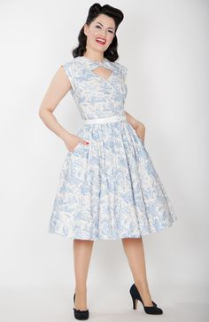 Lily Pin Up Dress in Blue Toile #1950s-pin-up #50s-dresses #50s-pin-up #bernie-dexter #burlesque #dress #eiffel-tower #english #france #french #gift #halter-dress #inspired-dress #online-vintage #party-dresses-for-women #pin-up #pin-up-dress #pin-up-dresses #pinup #pinup-dress #poppies #poppy #rockabilly #rockabilly-pin-up #skirts #vintage-clothing #vintage-dress #vintage-inspired-clothing #wholesale