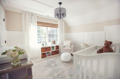 Gender neutral. Cato's sweet neutral nursery with a touch of glam