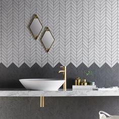 Izen Black Chevron Glazed Porcelain Mosaics