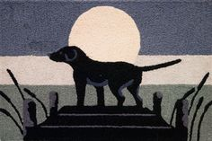 Lab in Moonlight Hooked Accent Rug, dog design accent rug, dog welcome mat, Labrador Retriever accent rug Jellybean Rugs, Rug Hooking Designs, Welcome Mats, Bathroom Rugs, Accent Rugs, Jelly Beans, Dog Design, Design Ideas, Outdoor Rugs