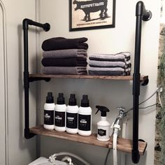 Love this shelf. Could add a towel bar across the bottom.