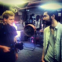 On set filming forgotten in still frame with Caleb Fortune and Andres Merlos