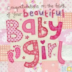 Congratulations on the birth of your beautiful Baby Girl Card - Large, luxury new baby card