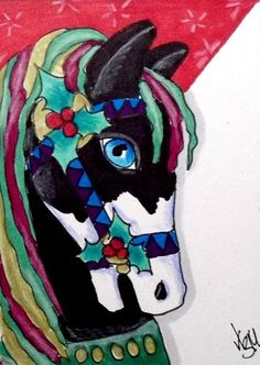 "Aceo Original  ""CHRISTMAS CAROUSEL HORSE""  pencil/ink  #OutsiderArt"