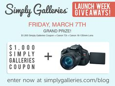 SimplyGalleries.com is giving away over $3600 in photo-goodies, including a Canon Rebel T3i and lens, to celebrate their upcoming launch!  Head to www.simplygalleries.com/blog to enter!