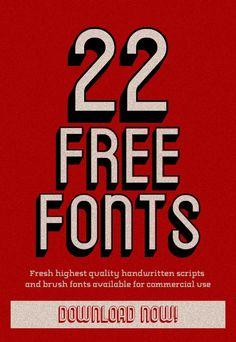 22 Fresh Free Fonts Download #typeface #brushfonts #fonts #freefonts #freebies #scriptfonts #FridayFreebie #freebiefriday