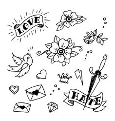 Set of old school tattoos elements vector by MsMoloko on VectorStock®
