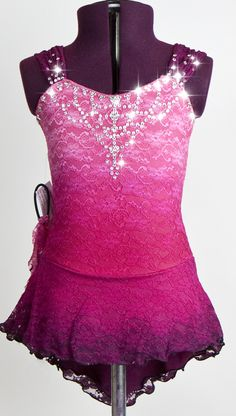 Hand dyed lace over lycra with swarovski crystals figure skating dress