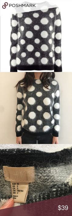[h&m] angora blend fuzzy polka dot sweater The cutest, furriest, fine-knit spotted jumper in an angora blend. 38% angora, 51% acrylic, 11% polyamide. So warm and stylish! Great condition 💝🌸 H&M Sweaters Crew & Scoop Necks