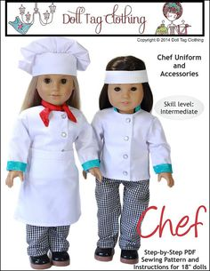 Pixie Faire Doll Tag Clothing Chef's Uniform by PixieFairePatterns