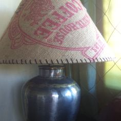 Recovered lampshade in old coffee bean sack.-- I want to do this