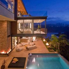 House with a pool and ocean view