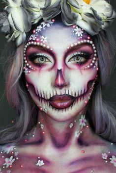 Innovative Halloween make-up thoughts that are going to pass away for and you could use for insights! Dead Makeup, Sfx Makeup, Costume Makeup, Crazy Makeup, Makeup Box, Amazing Halloween Makeup, Halloween Looks, Halloween Face Makeup, Scary Halloween