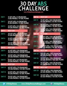 30 day abdominal challenge poster in pink and black with a photo of a female torso and specific exercises and progressive repetitions