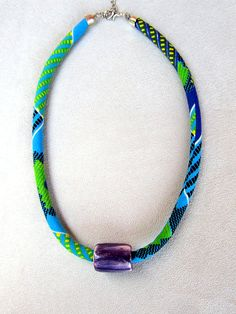 african+wax+fabric+and+ceramic+bead+necklace+green+and+by+nad205,+$20.00