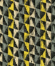 Brilliant, excellently coloured and realized mid-century modern pattern by E.W. Twitchell, Inc of Philadelphia. Essentially a riff off of a thousand-year-old traditional Nazca textile pattern.