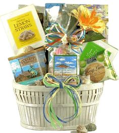 "$99.99-$114.00 Baby Seaside Snacks Gourmet Food Basket - Great Birthday, Housewarming or Thank You Gift Idea - This colorful collection of sensational summer snacks includes a festive ""Life's A Beach"" gift bag filled with individually wrapped, assorted Salt Water Taffy, a fun tub filled with ""Seaside Crunch"" Snack Mix, Shortbread Cookies, Lemon Tea Cookies, Key Lime Cookies with Almonds, Lemon S ..."