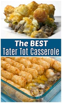 The BEST Tater Tot Casserole recipe that's perfect for busy nights. Love this easy dinner meal idea kids love! meals for dinner The BEST Tater Tot Casserole recipe that's perfect for busy nights. Love this easy dinner meal idea Best Tater Tot Casserole, Casserole Dishes, Casserole Kitchen, Tatertot Casserole Recipe, Cowboy Casserole, Tator Tot Hotdish Recipes, Tater Tot Bake, Cheeseburger Tater Tot Casserole, Gluten Free Casserole